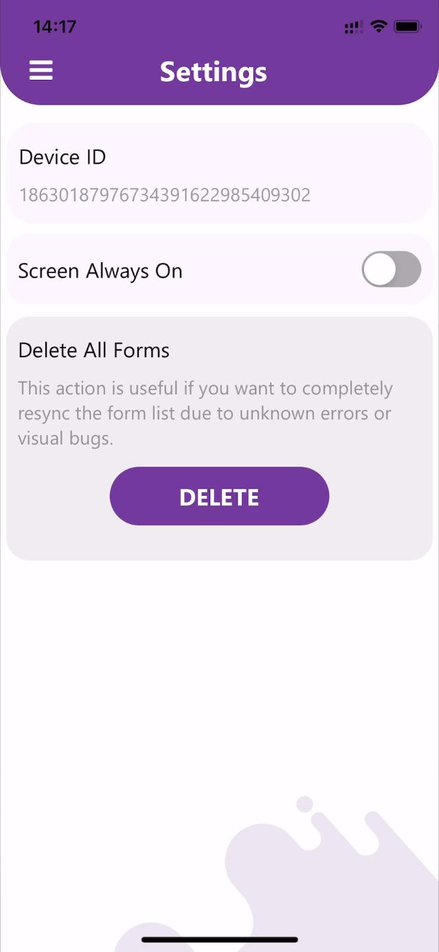 setting screen